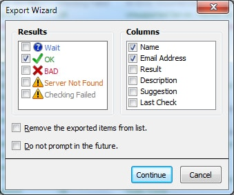Test Email Address Export Wizard Interface