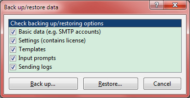 Back up / restore data